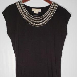 Michael Kors black sleeveless top w/chains size XS